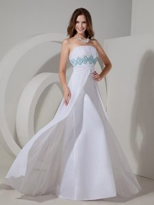 White Strapless Chiffon Beautiful Prom Dresses with Beading and Ruching