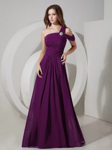 Cute Empire One Shoulder Chiffon Prom Dress for Summer in Floor-length