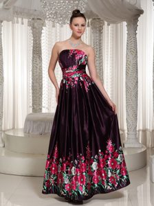 Strapless Ankle-length Dark Purple Affordable Prom Dresses with Printing