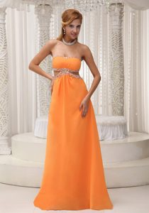 Orange Empire Beaded Chiffon Pretty Prom Outfits in Floor-length
