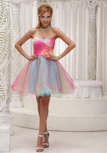 Organza Sweetheart Ombre Color Prom Dresses for Cheap with Ruching