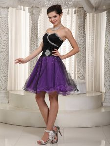 Beaded Purple and Black A-line Cheap Prom Dresses in and Tulle