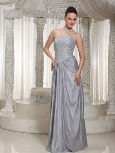 Elegant Strapless Grey Prom Dresses with Appliques and Beading