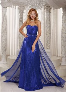 Sheath Sweetheart Chiffon Royal Blue Nice Senior Prom Dress with Sequins