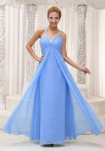 Beaded V-neck Perfect Chiffon Semi-formal Prom Gown Dress in Aqua Blue