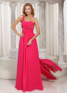 One Shoulder Ruched Chiffon Low Price Dress for Prom with Watteau Train