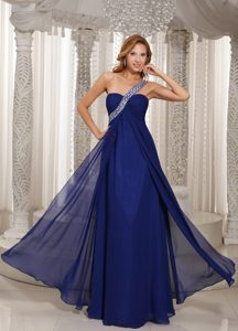 Cheap One Shoulder Navy Blue Empire Chiffon Prom Outfits with Beading
