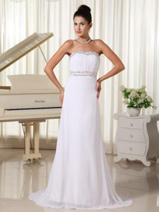 Strapless Beaded Brush Train Ruched Chiffon Lovely Prom Dresses in White