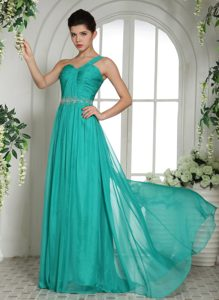 One Shoulder Beaded and Ruched Prom Dress in Turquoise on Promotion