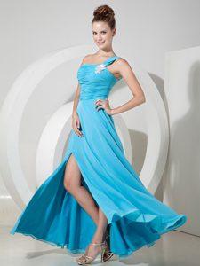 Aqua Blue One Shoulder Empire Chiffon Prom Dress for Cheap with High Slit