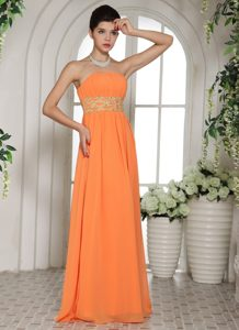 Orange Strapless Prom Dress for Wholesale Price with Beading and Ruching