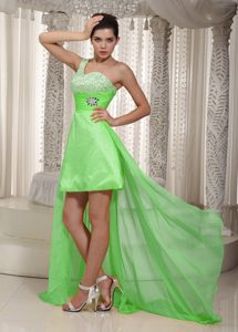 Spring Green A-line One Shoulder Nice Prom Gown Dresses with High Low