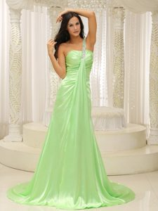 Affordable Beaded One Shoulder Ruched Prom Dresses in Yellow Green