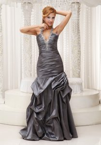 Beaded Halter Grey Cute Long Prom Gown Dress in