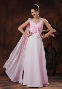 Sweet V-neck Watteau Train Beaded Chiffon Prom Gown Dress in Baby Pink