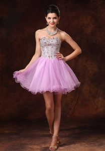 Short A-line Beaded Tulle Lovely Backless formal Prom Dress in Lavender