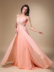 Watermelon Empire Straps Prom Dresses with Court Train on Promotion