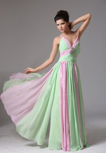 Muti-Color Spaghetti Straps Ruched Prom Gown Dress for Cheap