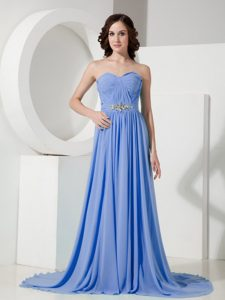 Blue Empire Sweetheart Beaded Chiffon Prom Dresses for Wholesale Price