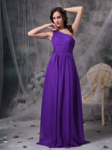 Purple Empire One Shoulder Elegant Beaded Prom Dress with Brush Train