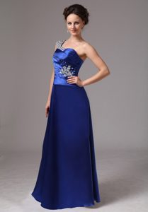 Royal Blue Beaded One Shoulder Pretty Informal Prom Dress with Ruching