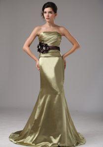 Strapless Mermaid Elastic Woven Satin Beautiful Prom Dress in Olive Green