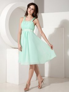 Low Price Empire Knee-length Beaded Chiffon Dress for Prom with Straps