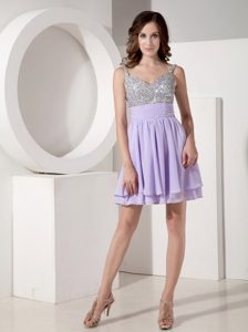 Affordable Lilac Empire Strap Mini-length Beaded Prom Outfits