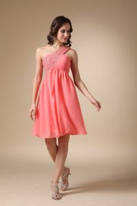 A-line One Shoulder Knee-length Cute Prom Gowns in Watermelon Red
