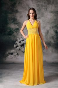 Yellow Empire Halter Beaded Chiffon Lovely Prom Dress with Brush Train