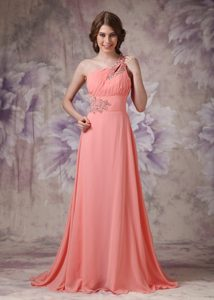 Empire One Shoulder Brush Train Low Price Prom Dresses in Watermelon