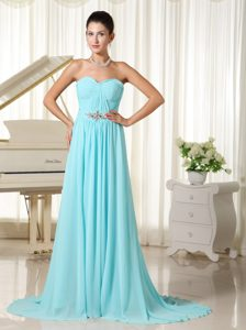 Aqua Blue Ruched Chiffon Prom Dresses with Brush Train on Promotion