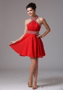 Halter Top Mini-length Semi-formal Prom Dress for Cheap with Ruching