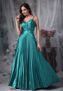 Cheap Teal A-line Ruched Straps Fitted Prom Outfits in Elastic Woven Satin