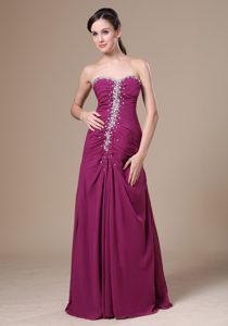 Fuchsia Long Beaded Chiffon Elegant Prom Attires with Sweetheart