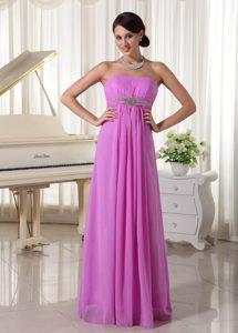 Lavender Beaded Chiffon Empire Beautiful Prom Dresses in Floor-length