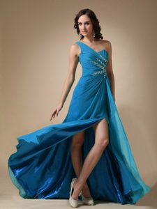 Aqua Blue Empire One Shoulder Affordable Prom Dresses with Brush Train