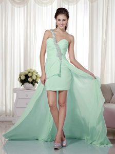Apple Green High Low Chiffon Prom Dresses with One Shoulder