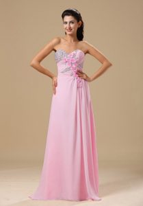 Pink Beaded Chiffon Cute Brush Train Informal Prom Dresses with Flowers