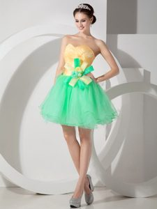 Sweet Green and Yellow A-line Sweetheart Mini Prom Dresses in Organza
