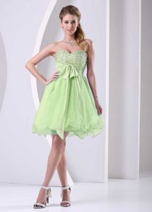 Sweetheart Beaded Chiffon Lovely Organza Prom Dresses in Yellow Green