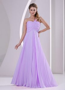 One Shoulder Pleat Chiffon Brush Train Low Price Prom Outfits in Lavender