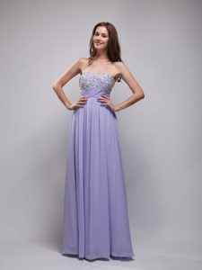 Lilac Empire Strapless Beaded Prom Dresses in Long on Promotion