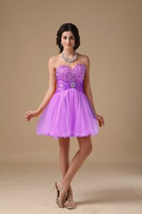 Lavender A-line Mini-length Prom Gown Dress for Cheap with Sweetheart