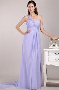 Custom Made Lilac Empire One Shoulder Prom Dress for Summer