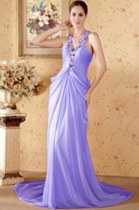 Purple Halter Top Cheap Ruched Chiffon Prom Dresses with Chapel