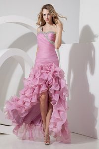 Rose Pink High-low Prom Party Dress with Ruffles and Beadings on Promotion