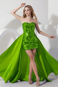 Glitz Sweetheart High-low Dresses for Prom Court with Sequins in Spring Green