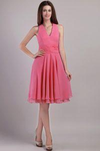 Watermelon Empire Knee-length Prom Attire with Halter-top Neckline