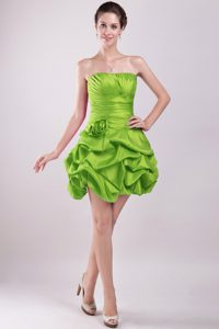 Mini-length Prom Dress in Green with Hand Made Flower and Pick-ups